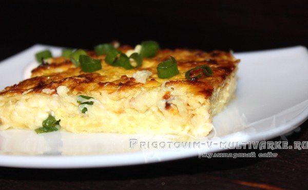 готовая запеканка с кабачками, сыром и творогом