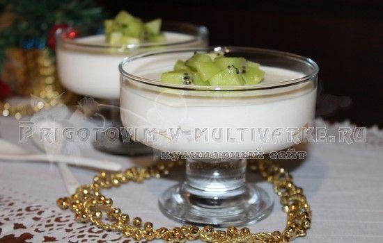 Творожное бланманже с ананасом и киви