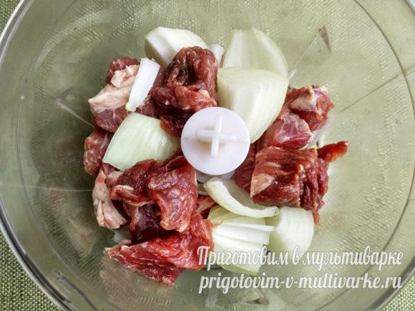Мясо и лук в блендере
