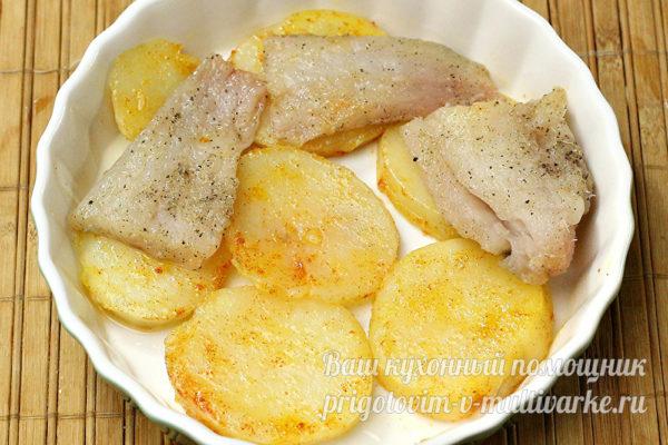 слои картошки и рыбы