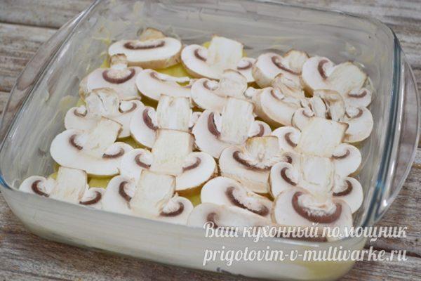 поверх картошки - грибы
