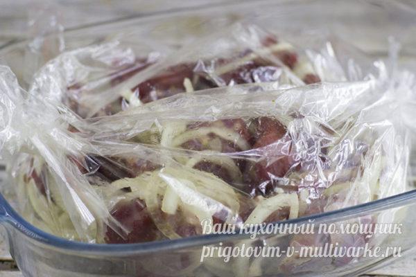 маринование мяса под пленкой