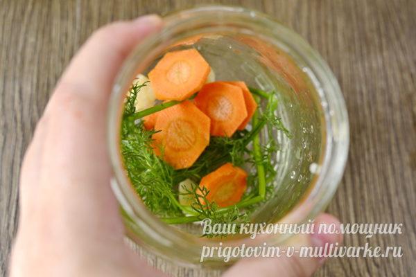 укладка укропа и моркови в банку