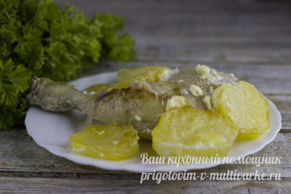 готовая картошка с курицей