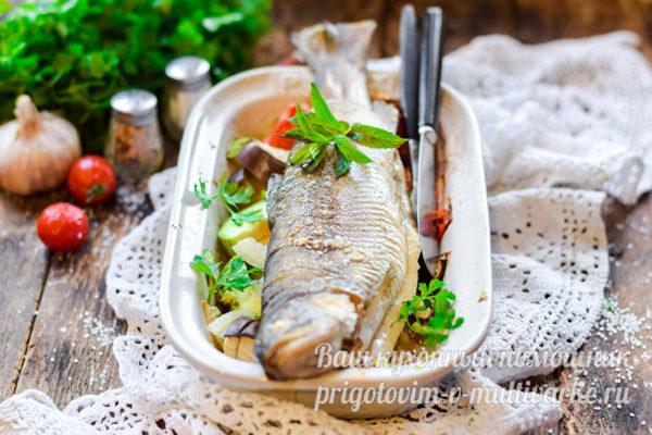 готовая форель с овощами