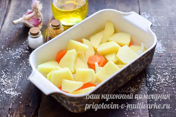 картофель и морковь в форме
