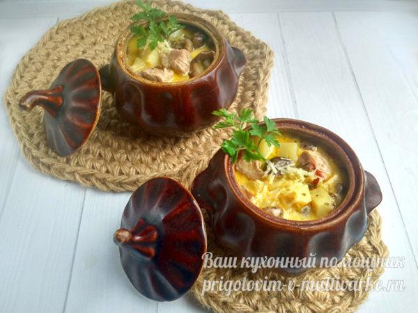 мясо и картофель в горшочках