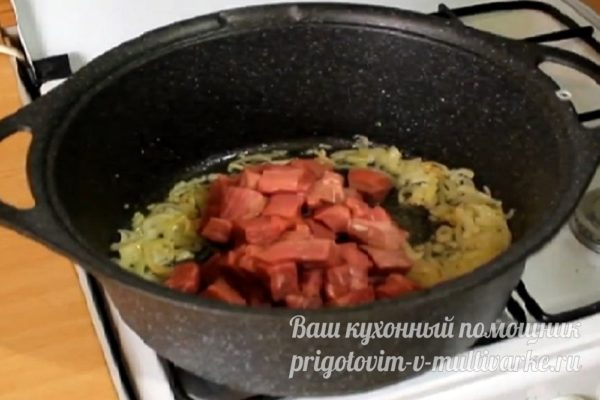 добавляем мясо