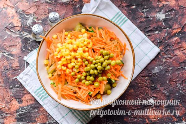добавить кукурузу и горошек