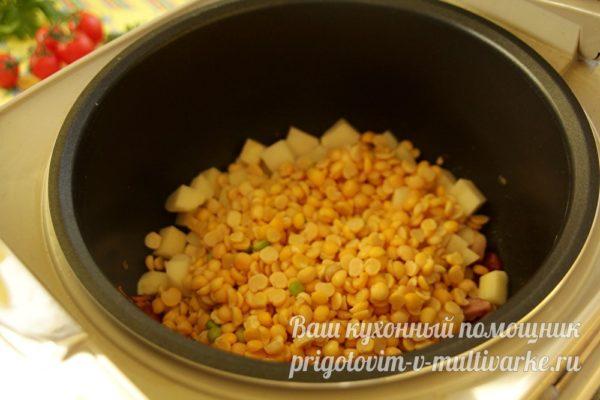 добавить картошку и горох