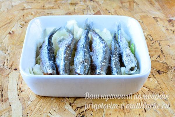 укладка рыбы в форму