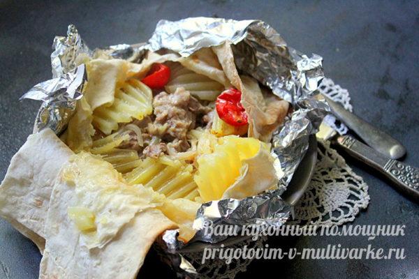 сытное блюдо из мяса с картофелем