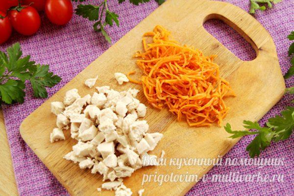 подготовленные филе и морковь