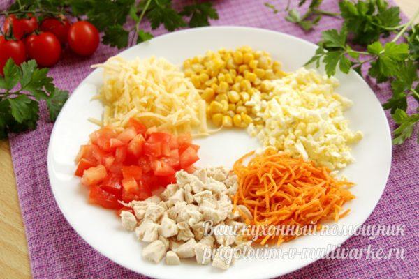 укладка ингредиентов на блюдо