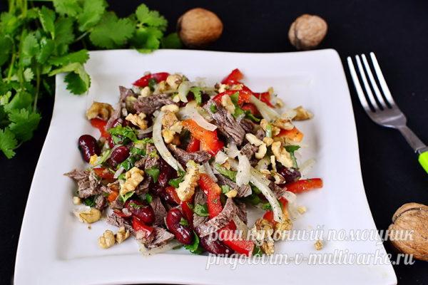 вкусный салат с фасолью и говядиной