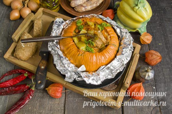 тыква с картошкой и колбасками