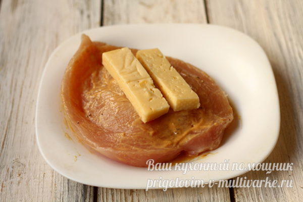 сыр кладем в филе