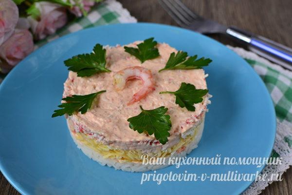 нежный салат с креветками