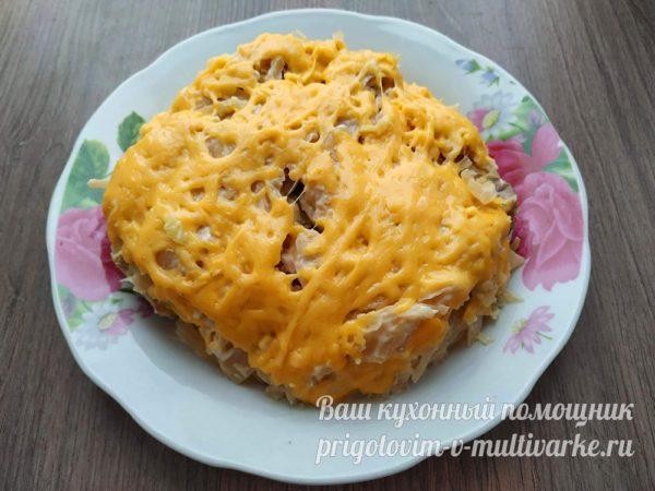 запеканка из картофеля с мясом, грибами и капустой