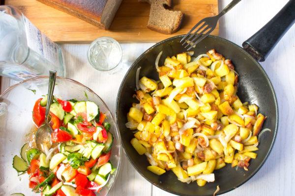 Жареный картофель с салом