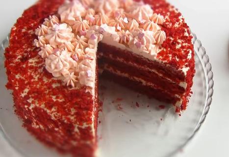 Торт красный бархат со сливочным кремом чиз