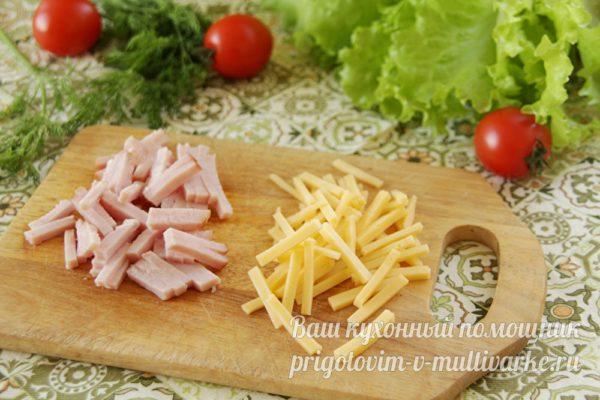 нарезать ветчину сыр
