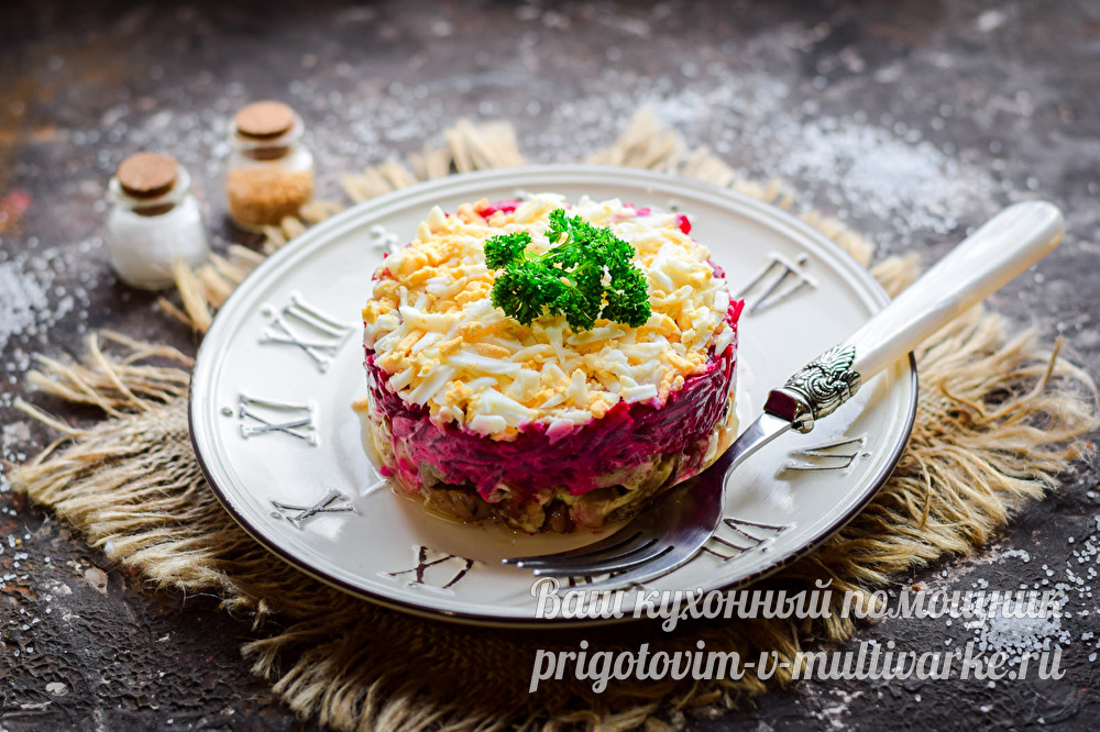 салат со свеклой и мясом