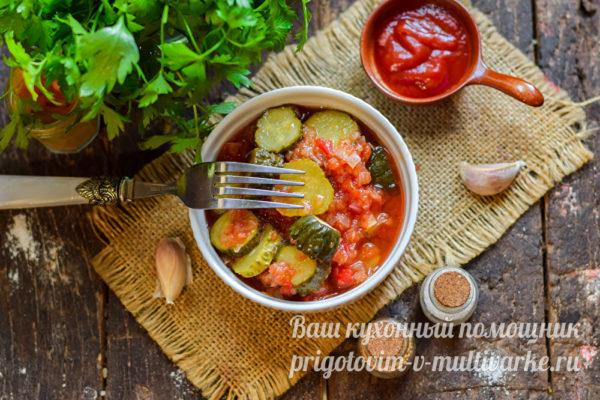 заготовка из огурцов и томатов
