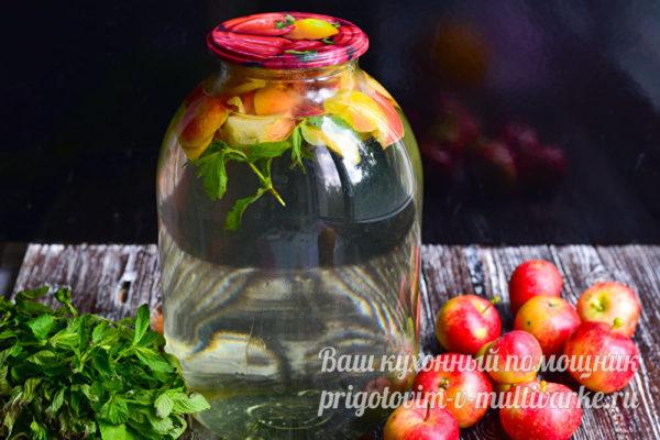 компот с яблоками и мятой на зиму