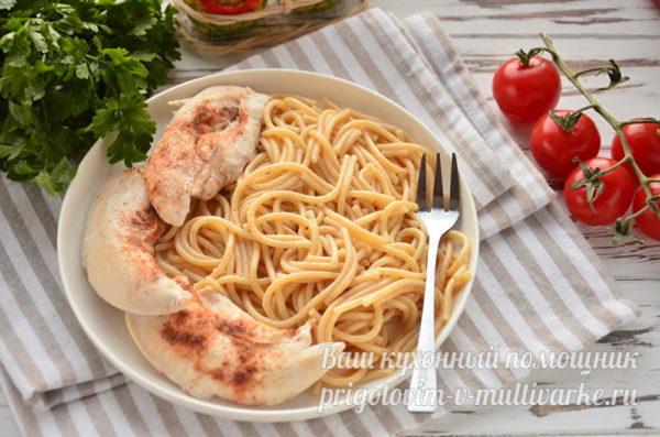 спагетти с курицей на ужин