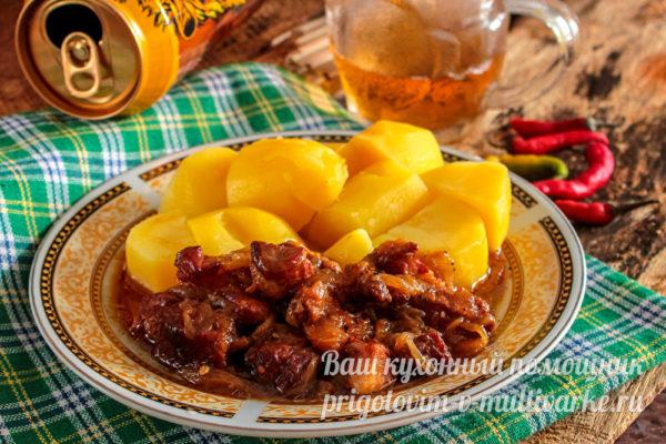 картошка и свинина в пиве
