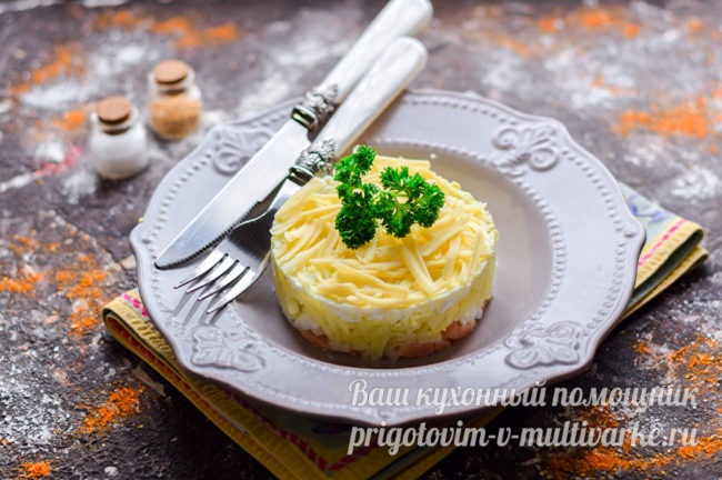 вкусный салат с рыбой