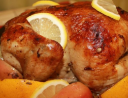 Курица в духовке с яблоками и апельсинами