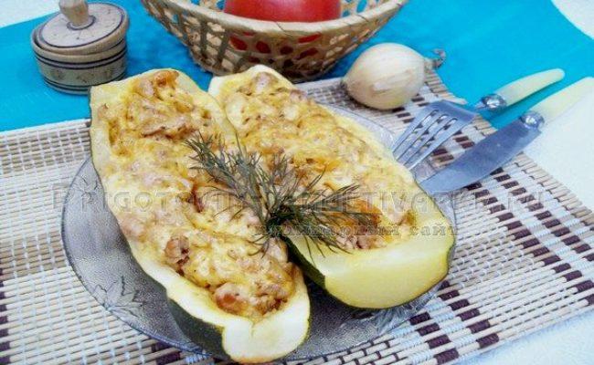 кабачки лодочки с фаршем и сыром