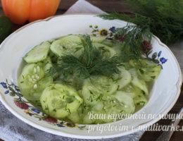 Огурцы с зеленью