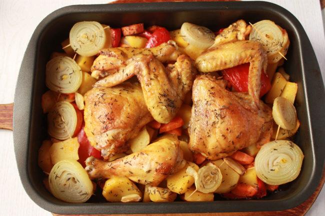 Рецепты курицы с картошкой в духовке