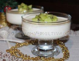 Творожный бланманже с ананасом и киви